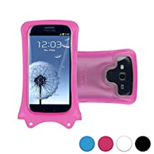 DiCAPac WP-C1 Universal Waterproof Case for Alcatel Pop C2/C3/C5/C7/D5/Icon/S3/S7/2 4.5 in Pink (Double Locking System; IPX8 Certified Underwater Protection; Super Clear Photo Lens)