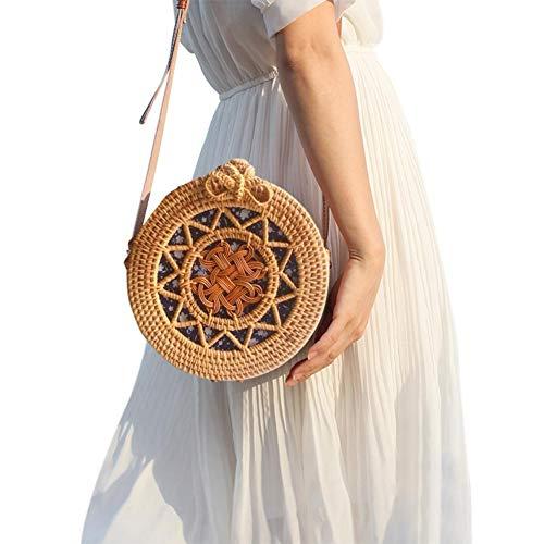 Sac en paille tissé rond sac à main sac à main bandoulière sac petit sac à bandoulière bowknot rétro circulaire à la mode sac de rangement domestique organisateur