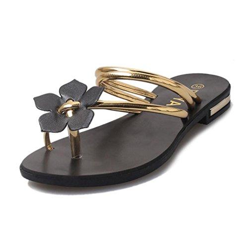 Transer® Damen Flach Slipper/Sandalen Gürtel Kreuz Blume Grün Gold Silber Hausschuhe (Bitte achten Sie auf die Größentabelle. Bitte eine Nummer größer bestellen. Vielen Dank!) Gold