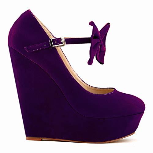 Daim De YC Talon DE SoiréE Cm Talons CompenséS De Purple L El Plate en Forme TêTe Pompes Ronde Femmes Boucle 14 B8wpXAx