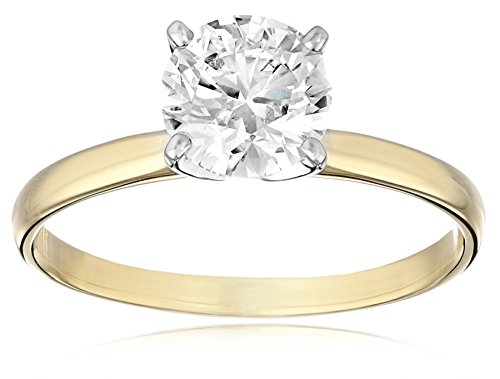 IGI Certified 18k Yellow Gold Classic Round-Cut Diamond E...
