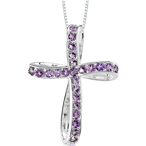 Amethyst Pendant Cross - Amethyst Cross Pendant Necklace Sterling Silver 1.25 Carats