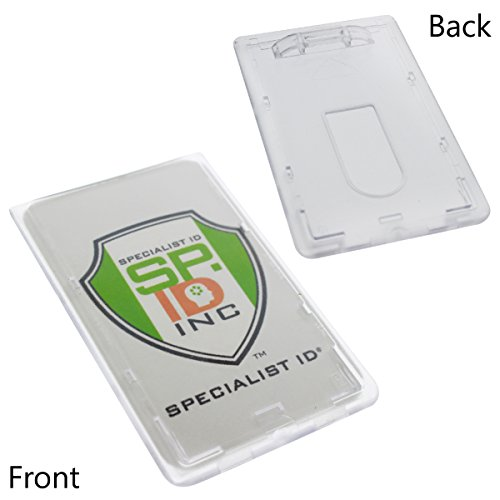 50 Pack - Slim Heavy Duty Badge Holders - Hard Plastic Clear Polycarbonate (Holds 1 Card) Rigid Top Load Single Card Case - Vertical Easy Access Thumb Slide Hole & UV Protection by Specialist ID
