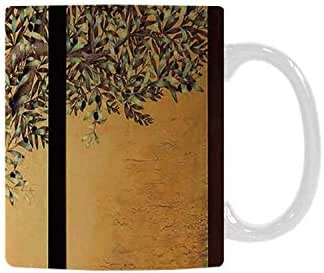 Tree of Life Utility White Printed Mug,Triptych of an Old Mature Olive Tree Mediterranean Greece Style Nature Graphic Decor for Home Office,11oz