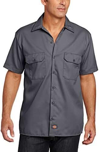 Dickies Men's Short Sleeve Work Shirt, Charcoal, Extra Large