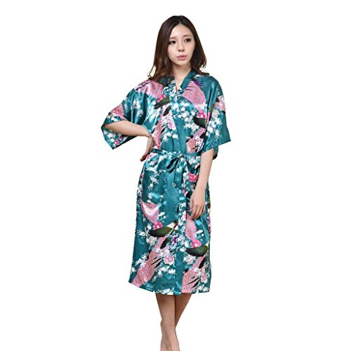 UQ Womens Long Fashion Kimono Robe with Peacock and Blossoms -