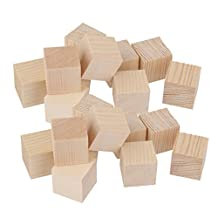 Dovewill 20 Pieces Blank Wooden Shapes Blocks Square Wooden Pieces Embellishment for Kids Crafts Toys 25mm