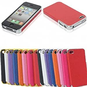 Aluminum Chrome Leather Hard Back Cover Case Protector For iPhone 4 4S --- Color:Red+Silver