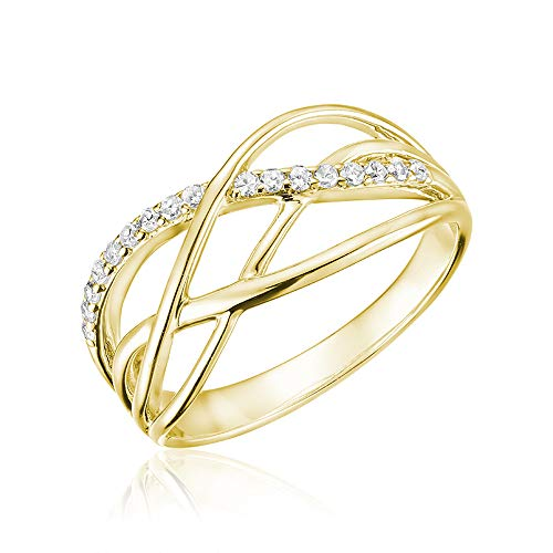 Jewels By Erika R-LM08 10K Gold Diamond Swirl Ring (Yellow-Gold, 10)
