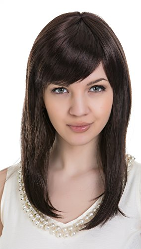 EDENKISS Women's Fashion Long Hair Replacement Straight Smoothly Full Head Wigs With Simulation Scalp Cosplay Costume Party Hairpiece (Dark Brown-LS113/2#33#)