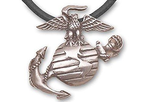 Us Marine Logo Pendant - Marines Necklace Pendant - USMC - (Pewter with black PVC rope chain) US Marines Military Logo