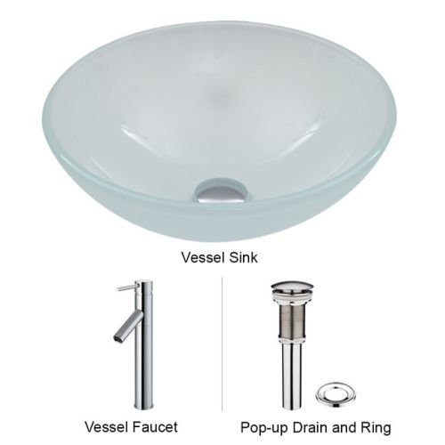 VIGO White Frost Vessel Sink and Dior Vessel Faucet with Pop Up, Chrome