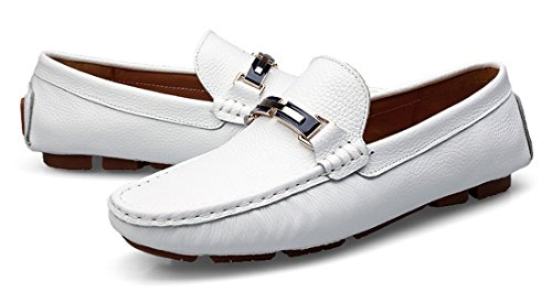 Leather Hot Moccasin Round Dress Boat Driving Recommend Loafers Shoes TDA Flats Classic White Men's Toe Penny 1B5qwAnapx