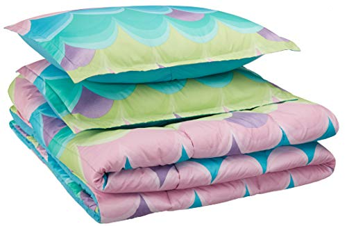 AmazonBasics Kid's Comforter Set - Soft, Easy-Wash Microfiber - Full/Queen, Blue Scallop (Small Scallops)