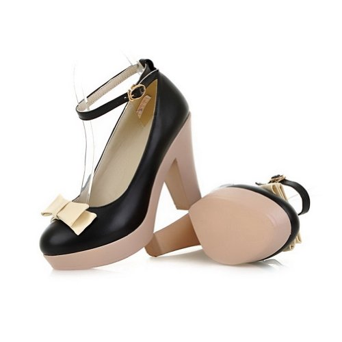 AmoonyFashion Womens Round-Toe Closed-Toe High-Heels Pumps-Shoes with Platform and Non-Slipping Sole Black eljktLp