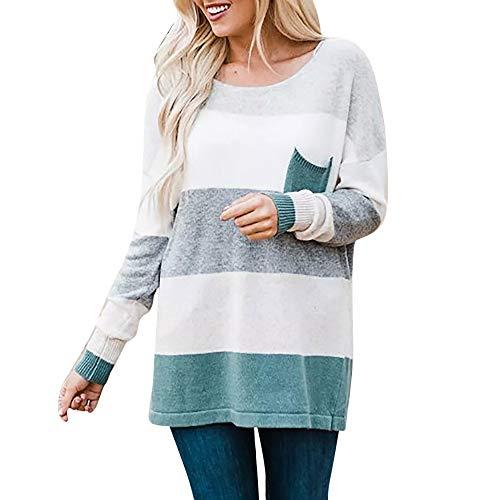 Women's Sweatshirt, FORUU Long Sleeve Stripe Sweater Oversized Knitted Pocket Jumper Pullover Top