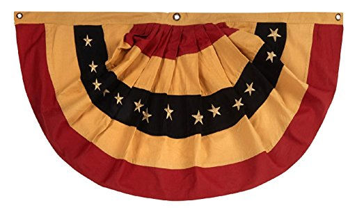 100% Cotton American Primitive Tea Stained Flag Bunting 40