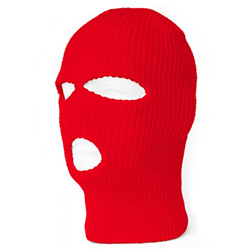 [Face Ski Mask 3 Hole (7 Colors Available) (Red)] (Ski Costumes)