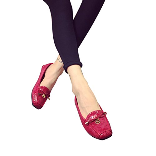 055a741fb380b WeiYin Women's Driving Shoes Leather Loafers Boat Shoes Flats Red US  7(Asian 38)