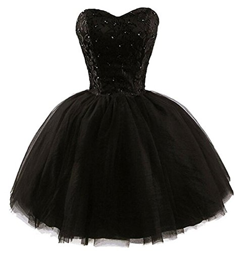 [Women's Black Sequined Short Tulle Homecoming Briadesmaid Prom Dress Gown S] (Womens Black Sequin Short Dress)