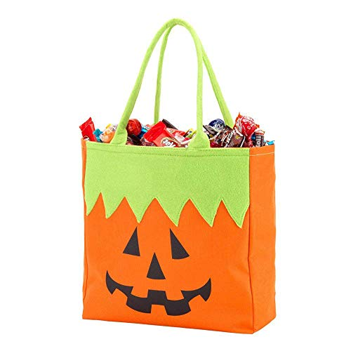 DGZC Halloween Pumpkin Gift Bag Trick or Treat Bag Reusable Durable Tote Storage for Kids Presents -