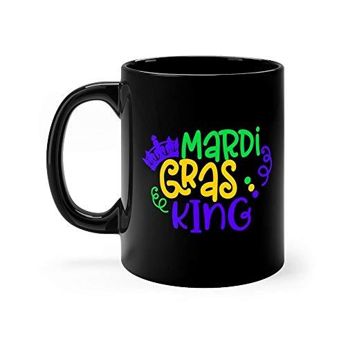 Fun Mardi Gras King Mug 11 Ounce Coffee Mug, 11oz Ceramic Coffee Cups, Funny Gift Mug, Unique Novelty Gift Tea Mugs, Funny Mug For Men, Women, Him, Her ()