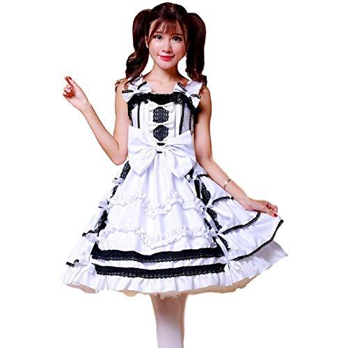 SSJ Womens Nico Yazawa Anime Cosplay Costume Lolita Bowknot Bubble Layered Dress White (White, Asian_L) -