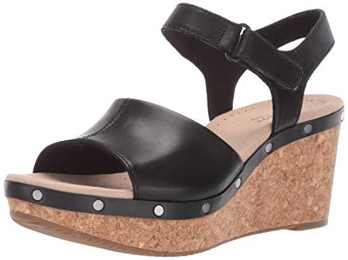 CLARKS Women's Annadel Clover Wedge Sandal Black Leather 055 M US