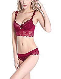 43e4291882 Women s Comfort Sexy Underwire Push Up Embroidered Lace Bra and Panty Set