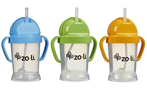 Zoli Baby BOT Straw Sippy Cup 6 oz - 3 Pack, Blue/Green/Oran