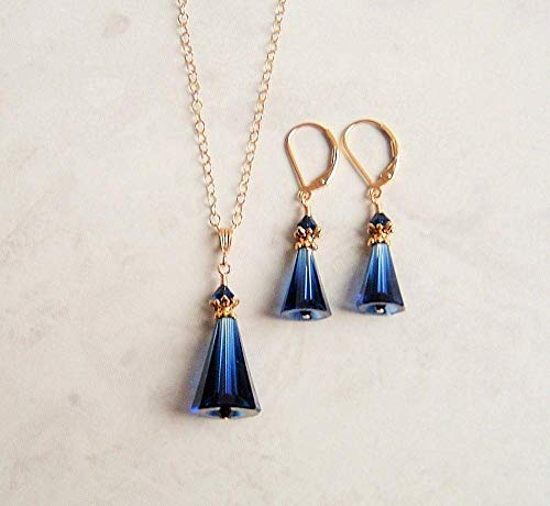 Dark Navy Blue Cone Gold Filled Earring Necklace Set Simulated Sapphire Made With Swarovski Crystals Gift Idea