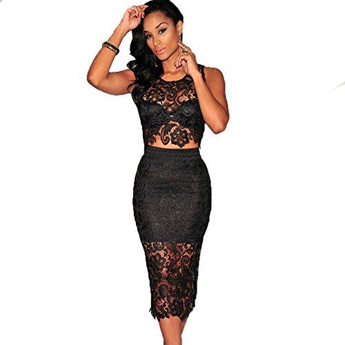 Clothesforu Women's Hollow Style Sleeveless Lace Two Piece Dress Black Large