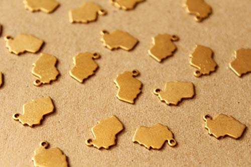 8 pc. Raw Brass Wisconsin State Charms/Blanks: 9.5mm by 12.5mm
