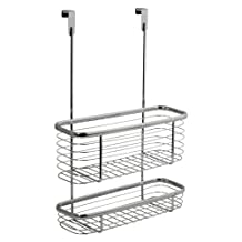 InterDesign Axis Over the Cabinet Kitchen Storage Organizer Basket for Aluminum Foil, Sandwich Bags, Cleaning Supplies - 2-Tier, Chrome