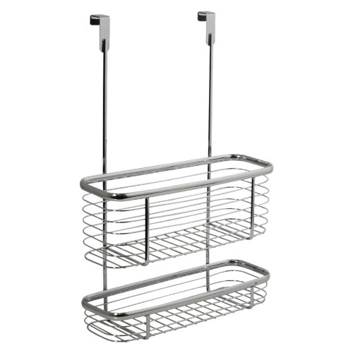 InterDesign Axis Over the Cabinet Kitchen Storage Organizer Basket for Aluminum Foil, Sandwich Bags, Cleaning Supplies - 2-Tier, Chrome by InterDesign