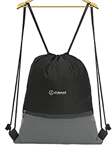 ZOMAKE Drawstring Backpack Large Water Repellent Gymbag Sackpack Tote Cinch Bag for Ourdoor Sport Yoga Black