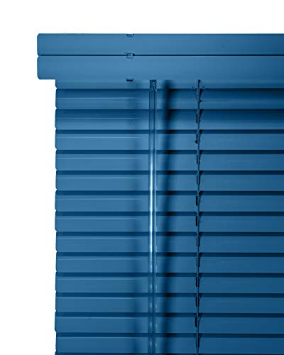 CHICOLOGY Custom Made Corded 1-Inch Aluminum Mini Blind, Blackout Horizontal Slats, Inside Mount, Room Darkening Perfect for Kitchen/Bedroom/Living Room/Office and More: 26″ W X 16″ H, True Blue