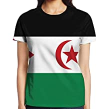 Yongchuang Feng Flag Of Western Sahara Women's Printed Pullover Casual Tees Short Sleeve T-Shirt For Youth Girls