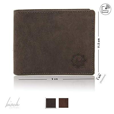 Classic Bi-Fold Hunter leather wallet with sim, memory, 9 CC slots & RFID block