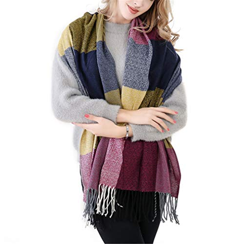 60Cm200Cm For Women Warm Big Long Scarf Plaid Thick Scarves Yellow