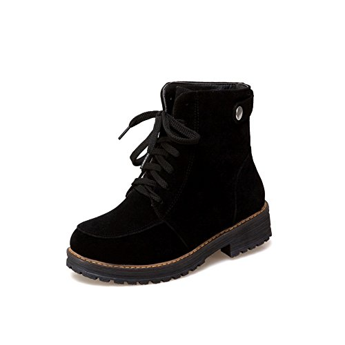 Up Black Top 1TO9 Nubuck Low Closed Womens Toe Boots Urethane Warm Lining Strap Lace MNS02402 Boots Low Adjustable Heels qww1RUXx
