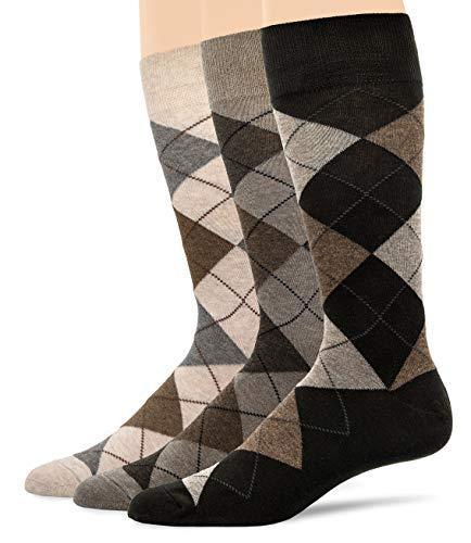 U&I Men's Argyle Dress Socks Taupe Mix Shoes Size 6-12 ()