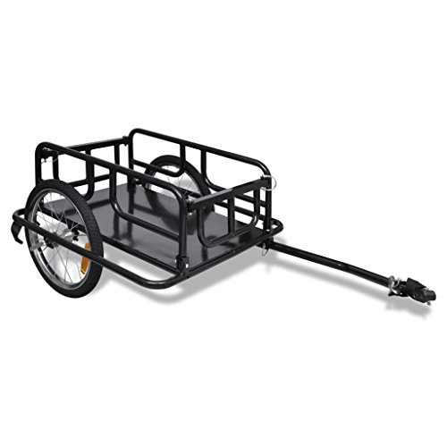 vidaXL Outdoor Bike Bicycle Cargo Trailer Black 2-Wheel Cart Carrier Transporter