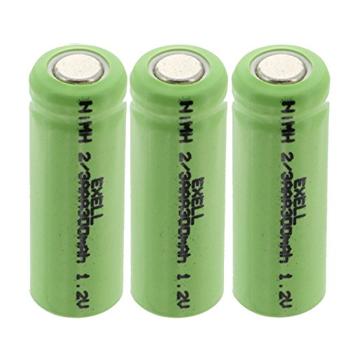(3-PACK) Exell 1.2V 2/3AAA 300mAh NiMH Rechargeable Flat Top Batteries use with high power static applications (Telecoms UPS and Smart grid) radio controlled devices electric tools electric mopeds