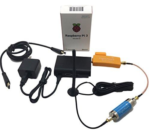 Cheap FlightAware Raspberry Pi + ADS-B PRO USB Stick + Band-pass SMA Filter + Car Antenna PiAware Track Planes