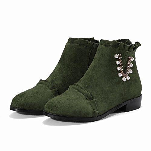 Carolbar Womens Pärlstav Strass Dekorativa Gränsen Zip Komfort Stövlar Grön