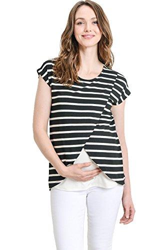 2954a39d59440 Hello MIZ Maternity Asymmetrical Wrap Overlay Nursing Breastfeeding Top ( Medium, Black Stripe/Off White)
