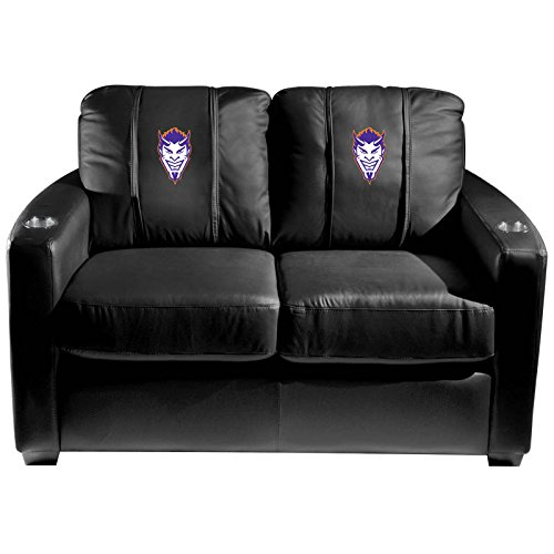 XZipit College Silver Loveseat with Northwestern State Demon Head Logo Panel, Black