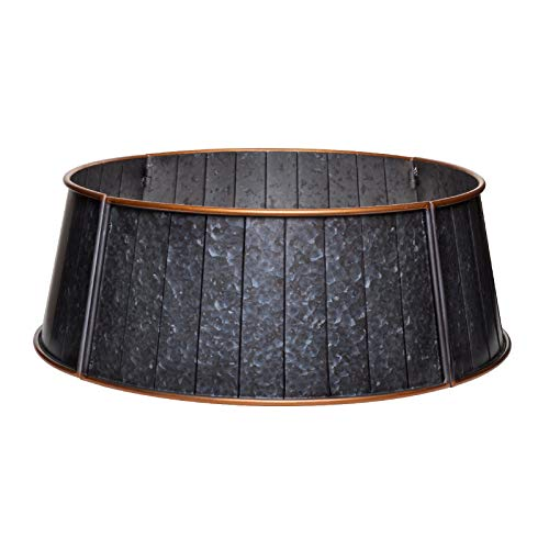 Pine & Paint Metal Tree Collar (Galvanized Grey) (Tree Stand Christmas Basket)