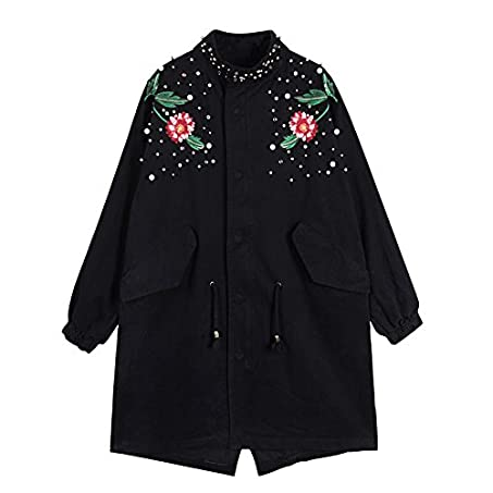 Amazon.com: BABY-QQ Fashion;good-looking Design Pearl Beading Plus Size Women Jacket Coat Vintage Women Long Jacket Coat Black Abrigos Mujer Army Green One ...